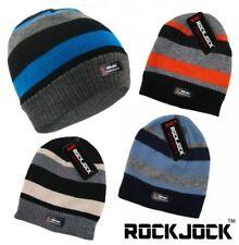 BOYS STRIPED THINSULATE BEANIE FLEECE LINED WINTER HATS WARM FASHION BY ROCKJOCK