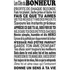 """Sticker Décoration Texte """"Les Clés du Bonheur"""", 50x30cm à 100x60cm (TEX032)"""