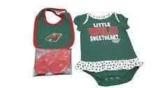 NHL Minnesota Wild Genuine Reebok Girls Baby Infant 3 Piece Creeper Set New