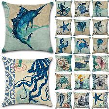 Marine Nautical Ocean Sea Life Throw Pillow Case Sofa Cushion Cover Home Decor