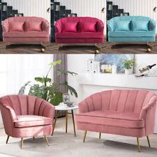 Velvet Padded Cushion Single/Love Seat Sofa Armchair LivingRoom w/Gold Metal Leg