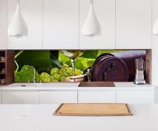 Aufkleber Küchenrückwand Wein Glas Flasche Trauben Folie Spritzschutz 22A1192