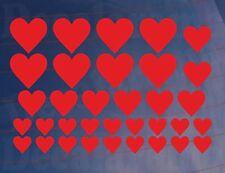 Sheet of 29 Small HEARTS Kids Bedroom/Room Wall/Cupboard Art Stickers/Transfers