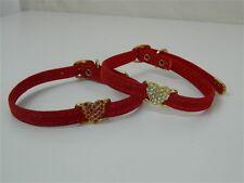 Collare cani Rosso con cuore brillantini strass bianchi rossi 30 cm 35 cm M239