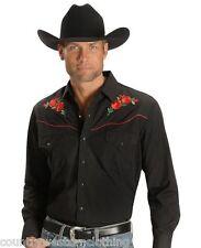 Para Hombre Negro Western cowboy Shirt Bordado Rojo Rosa línea Bailando Barn Dance