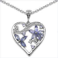 Collier/Halskette Herz-Anhänger-Tansanit-Zirkonia 1,35 Karat