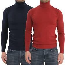 Maglione Uomo Collo Alto Rosso Blu Slim Maglioncino Dolcevita Lupetto Pullover