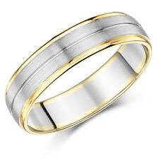 Uomo palladio e 9ct ORO GIALLO MATRIMONIO 6mm anello