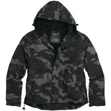 Surplus Mens Windbreaker Hooded Jacket with Fleece Lining Black Camouflage S-XXL