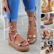 New Womens Platform Sandals Espadrille Ankle Tie Up Comfy Summer Shoes Sizes 3-8