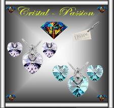 Sublime Parure collier boucle d'oreille Cristal swarovski éléments  Coeur Oeil