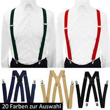 axy Herren Hosenträger-X Form 2,5cm breit 4 Clips EXTRA STARK uni Farben Damen