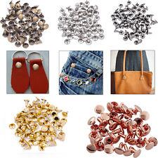 100pcs Double Cap Tubular Rivets Metal for DIY Leather Crafts Handbags Repair