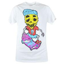 Dimmak Collection Skateboard Skeleton Melt Novelty Men White Tshirt Tee