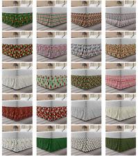 Ambesonne Christmas Print Bedskirt Elastic Wrap Around Skirt Gathered Design