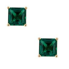 0.50 - 2.60 Kt 14K Solido Oro Giallo Principessa Smeraldo Vite Orecchini a Lobo