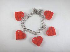 BrickCrafts LEGO® Fashion Heart Charm Bracelet Toggle Clasp Valentine's Day Love