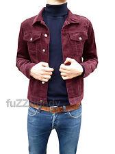 Para Hombre Nueva chaqueta de abrigo rojo borgoña Pana Denim Indie Mod Retro De Colección Cable S M Xl