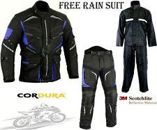 BLUE SPEED MAX MOTORBIKE MOTORCYCLE TEXTILE JACKET TROUSERS SUIT & RAIN SUIT