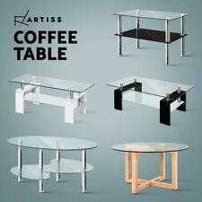 Artiss Coffee Table High Gloss Glass Side Tables Storage Shelf Modern Furniture