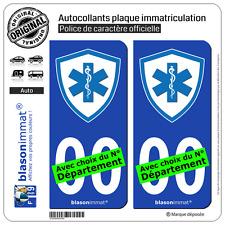 2 Stickers autocollant plaque immatriculation Auto : Ambulancier - Blason