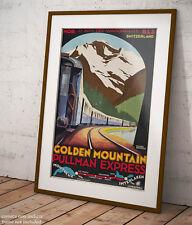 🚂 Poster Roger Broders Treno di Montagna Golden Mountain Stampa Fine Art 🗻