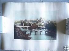 Vintage 1800s Paris Skyline Engraving SIGNED L BERTRAND