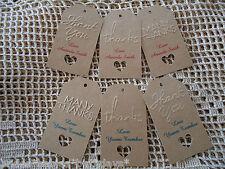 10 Kraft Brown Gift Tags Wedding Bomboniere Christening Embossed Personalised Jk