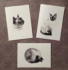 Set of 12 Handmade Blank Siamese Cat Print Note Cards
