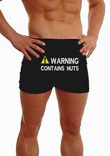 Personnalisé Hommes Avertissement contient Nuts Boxer Shorts Fun Sous-vêtements Cadeau Sous-vêtements