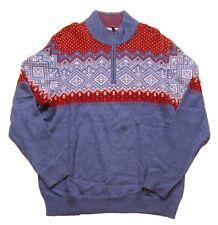 Vineyard Vines Men's Moonshine Blue Holiday Fairisle Wool Blend 1/4 Zip Sweater