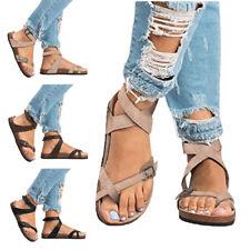 Women Summer Beach Shoes Flip Flops Slides Flat Sandals Roma Gladiator Plus Size