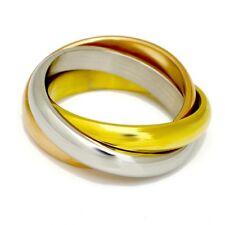 Neu Edelstahl Ringe 3 er Ringe tricolor rosegold silber Gold Damen dreier Ring
