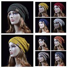 Women's Beanie Cable Knit Plain Cap CC Ski Winter Oversize Slouch Hat Unisex