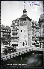 SWITZERLAND ~ Suisse ~1937 GENEVE (Genf) Tour de l'Ille et le Rhone ~ Tram~ RPPC