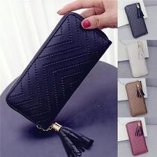 Clutch Checkbook Tassel Leather Card Holder Long Wallet Women Lady Handbag Purse