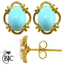 BJC 9 ct Oro Amarillo Turquesa Natural Individual Pendientes De Presión