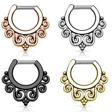Septum Piercing Clicker - Tribal Swirls - 14ga or 16ga - 4 Color Options - 316L