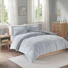 Grey Reversible Plush Microfiber Comforter And Decorative Shams - All Sizes