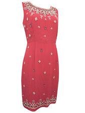 M & S uk10-14 Damen Pfingstrose Rot Kristall Perle verziert Etuikleid Hochzeit