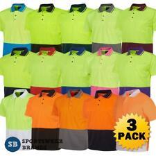3 x Mens Hi Vis Non Cuff Polo Shirt Top Work Size XS - 9XL Contrast Tradie 6HVNC