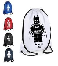 PERSONALISED Drawstring GymSac LEGO Batman Bag School PE Swimming Sport Girl Boy