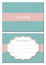 Invitaciones Fiesta De Lunares/Shabby Chic 24 x A6 tamaño postal verde azulado/