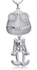 Set Lang Halskette + Anhänger Frosch Robot Außerirdischer Strass Silber 304