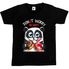 Donut Worry Be Happy Smiling Panda With Doughnuts Kids Boys / Girls T-Shirt