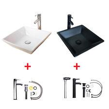 White/Black Modern Design Bathroom Ceramic Vessel Sink Chrome/ORB Faucet Drain