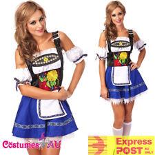Ladies Embroidery Oktoberfest Costume German Beer Maid Lederhosen Blue Dress