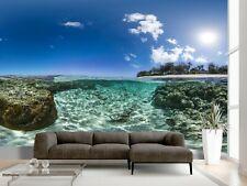 Beach Sea Rock Underwater Fish Sky Tree Wallpaper Wall Mural Photo Summer Poster