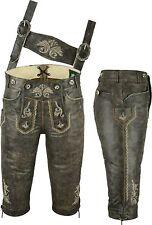 Trachten Kniebundlederhose + Träger aus Rind-Nappaleder Lederhose schwarz-antik
