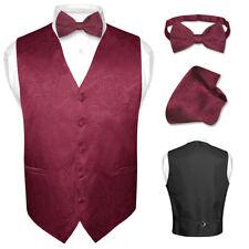 Men's Paisley Design Dress Vest & Bow Tie BURGUNDY Color BOWTie Set for Suit Tux
